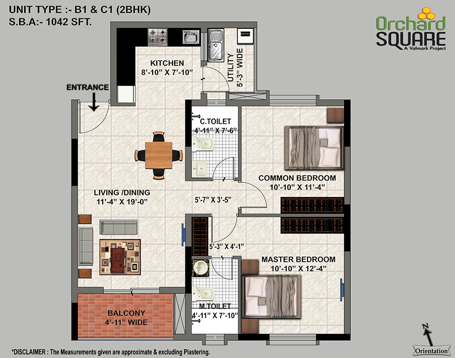 Orchard Square 2 BHK(1042 SFT) Plan, 2 BHK Apartments in jp Nagar