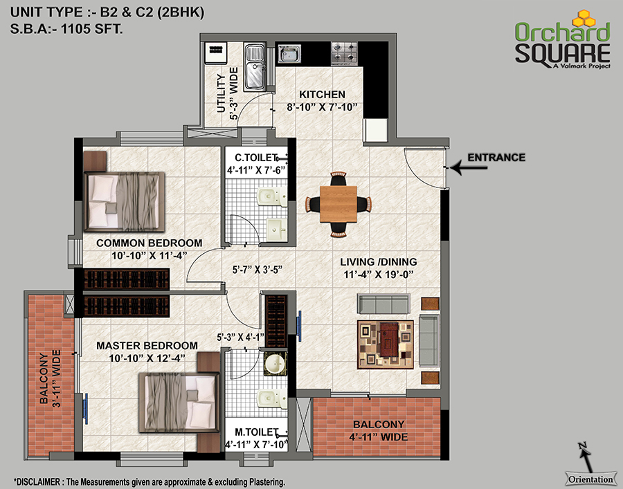 Orchard Square 2 BHK(1105 SFT) Plan, 2 BHK Apartments for Sale in jp Nagar