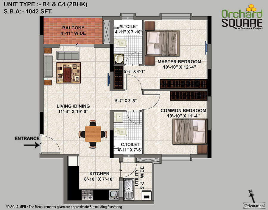 Orchard Square 1042 SFT Plan