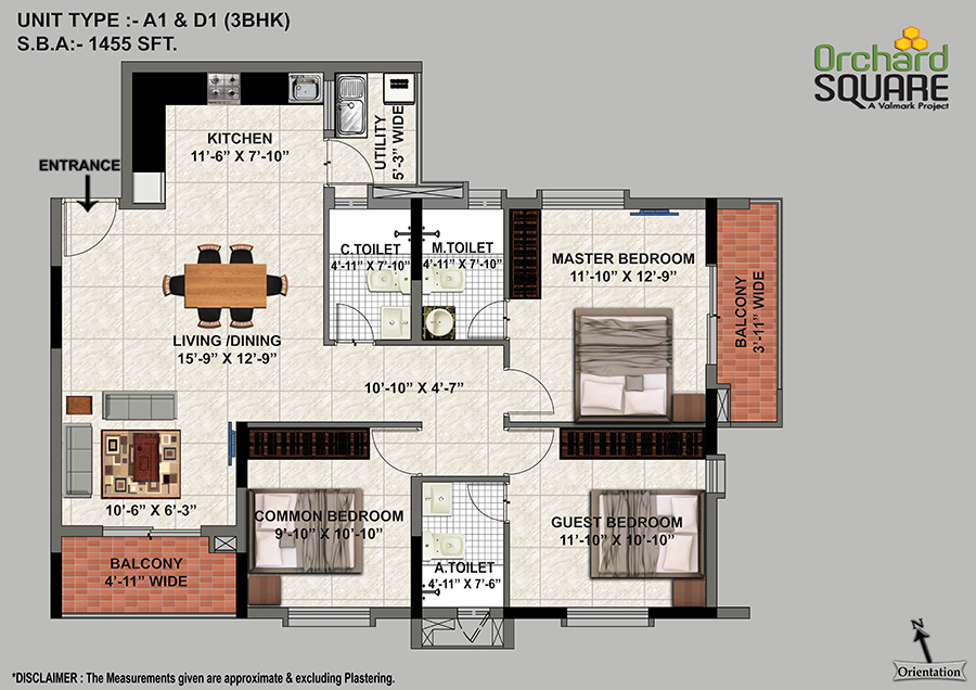 Orchard Square 3 BHK(1455 SFT) Plan, 3 BHK Apartments in jp Nagar