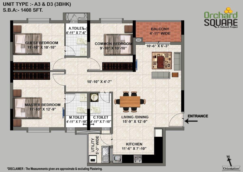 3 BHK Apartments Floor Plan