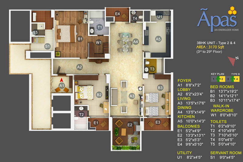 APAS 3 BHK Luxury Apartments Floor Plan, Bannerghatta Road