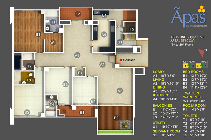 APAS 4 BHK Floor Plan - 4bhk Apartments in Bannerghatta Road