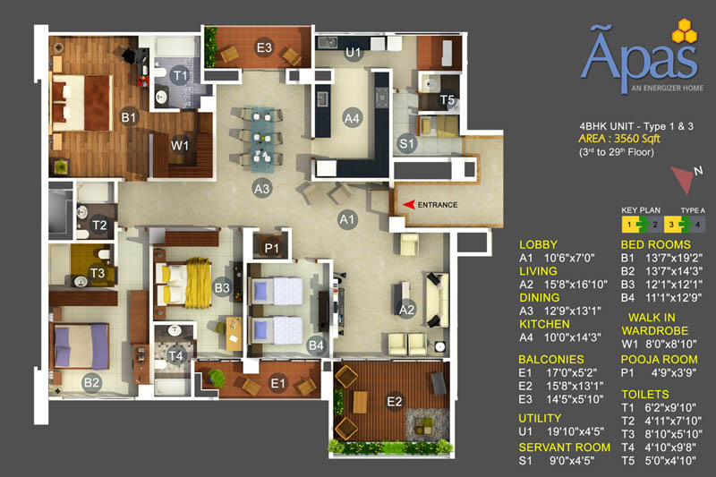 Apas 4bhk Luxury Apartments Bannerghatta Road on 3d One Bedroom Apartment Floor Plans